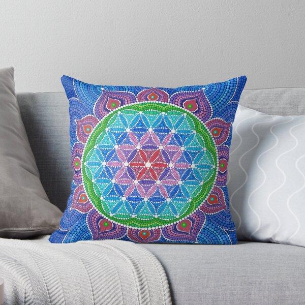 Divine Lotus Mandala Throw Pillow