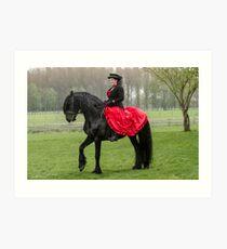 Friesian Horse and Rider Art Print