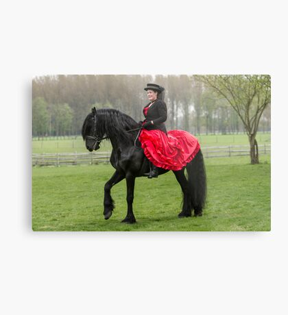 Friesian Horse and Rider Metal Print