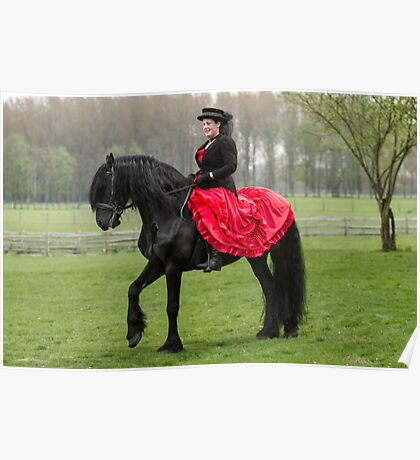 Friesian Horse and Rider Poster