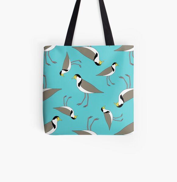 Lapwings Galore (aqua) All Over Print Tote Bag