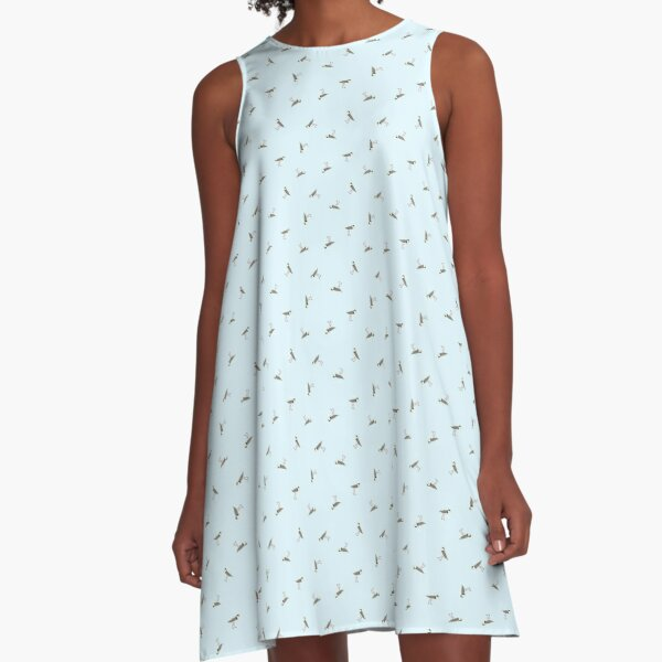 Scattered Lapwings (sky blue) A-Line Dress