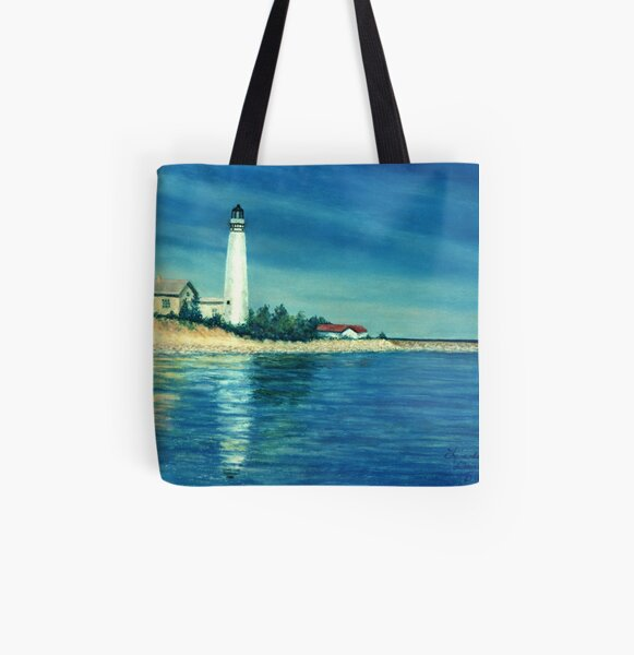 South Manitou Lighthouse All Over Print Tote Bag