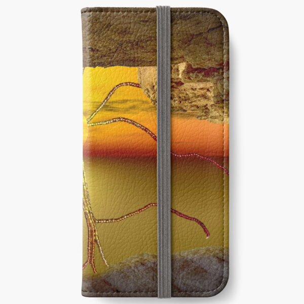 Sunset view from a cave with beaded sunrays iPhone Wallet