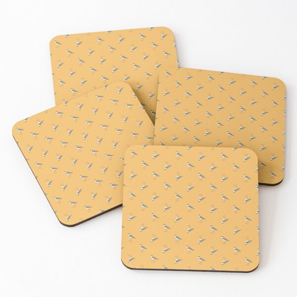 Orderly Lapwings (gold) Coasters (Set of 4)