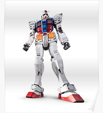 Gundam RX-78-2 statue isolated on white art photo print Poster