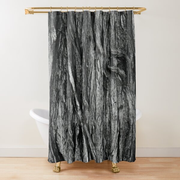 Cypress Pine Bark in Black and White  Shower Curtain