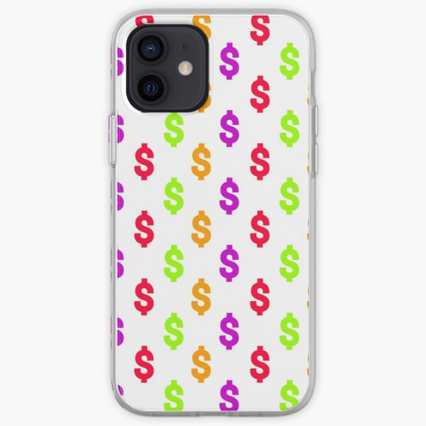 Multicolored dollar sign pattern on white background iPhone Soft Case