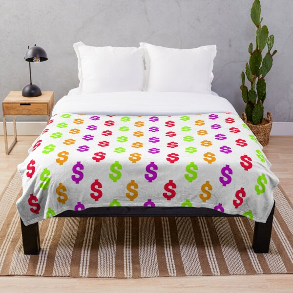 Multicolored dollar sign pattern on white background Throw Blanket