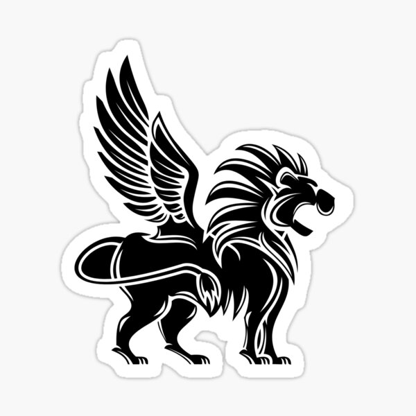 Winged Lion Front View Drawing   Animal drawings, Lion tattoo, Black and  white lion