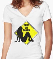 Babe on Board Women's Fitted V-Neck T-Shirt
