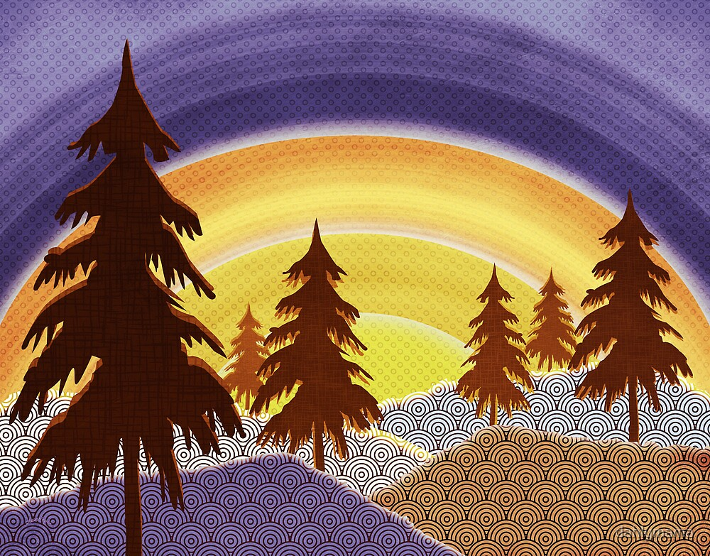 Pine Forest Sunset by Shawna Rowe
