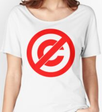 Public Domain Symbol, Copyleft [Red Ink] Women's Relaxed Fit T-Shirt