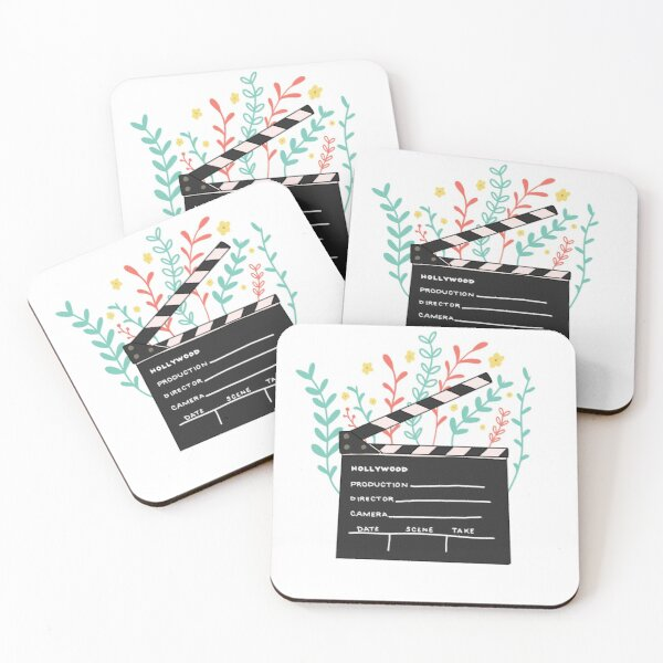 Cute Clapperboard Flower Chic Coasters (Set of 4)