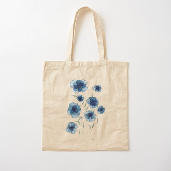 Blue and Purple Flowers with Gold Outline Cotton Fabric Tote Made to Order