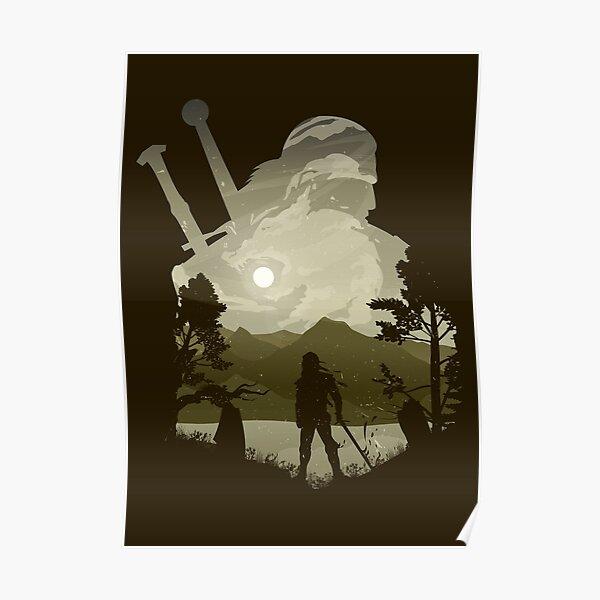 Geralt the Witcher Minimalist Illusion art Poster