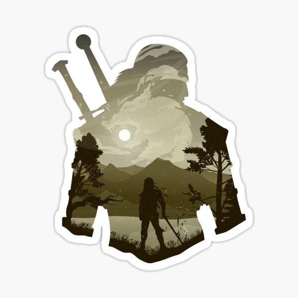 Geralt der Hexer Minimalistische Illusionskunst Sticker