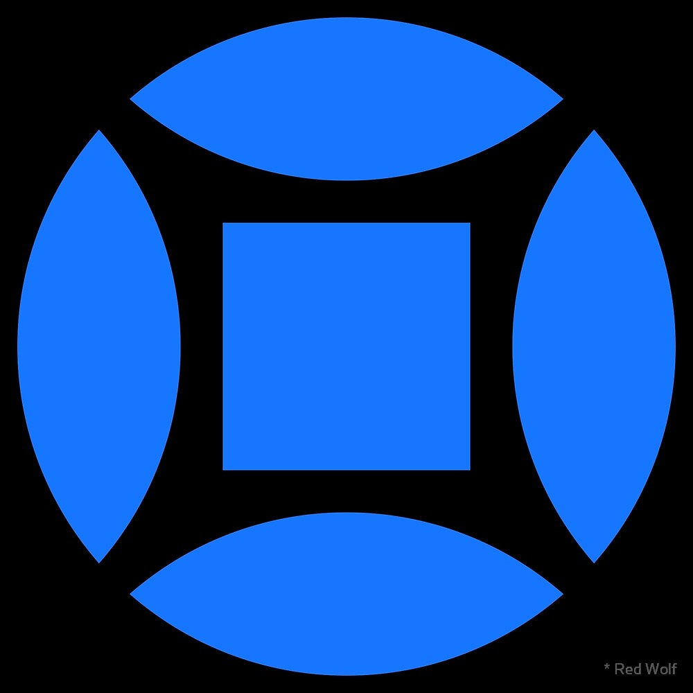 Geometric Pattern: Intersect Square: Black/Blue by * Red Wolf