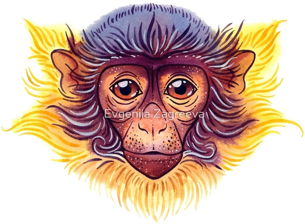 Watercolor monkey by Evgeniia Zagreeva