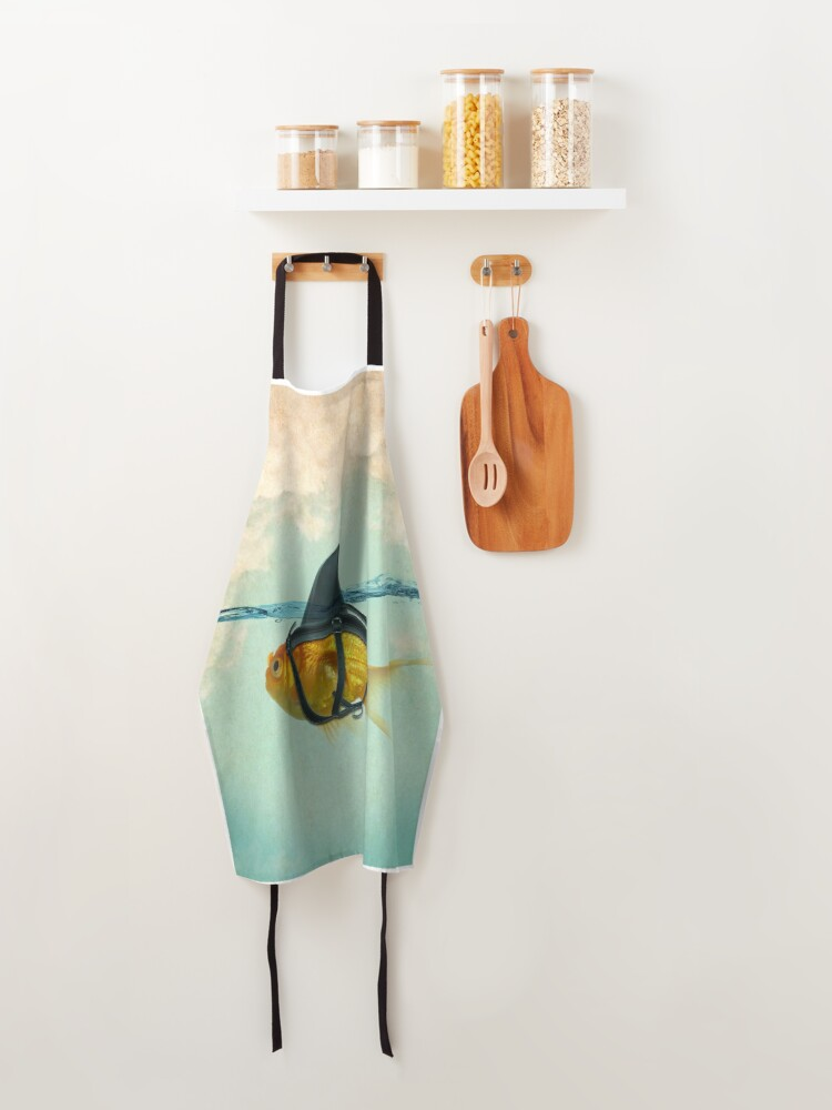 Alternate view of brilient disguise, goldfish with a shark fin Apron