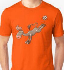Donkey Shooting a Soccer Ball Slim Fit T-Shirt