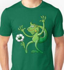 Iguana Balancing a Soccer Ball Slim Fit T-Shirt