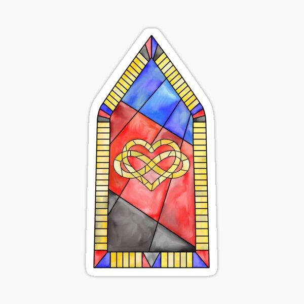Polyamory Stained Glass Window Sticker