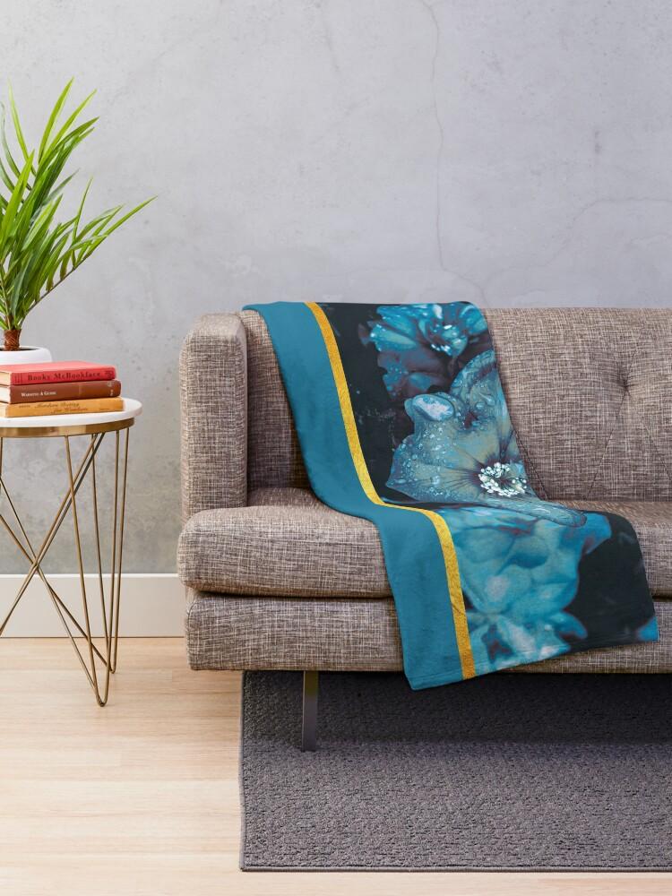 Alternate view of Blue flowers Throw Blanket