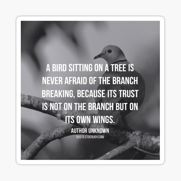 A bird sitting on a tree is never afraid of the branch... - Author Unknown Sticker