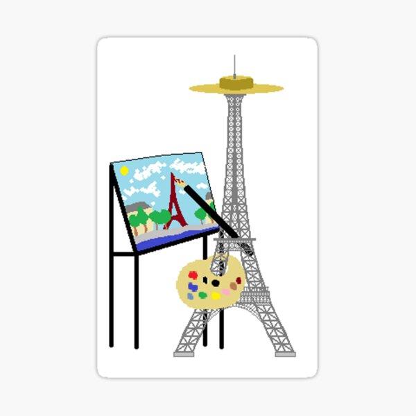 La Tour Eiffel peint son autoprtrait Sticker
