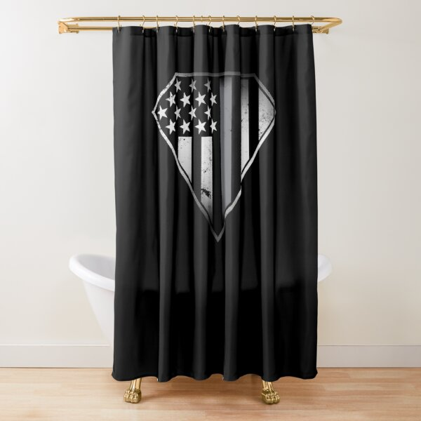 Agent correctionnel - Gardiens de correction - Silver Thin Line - Gray Thin Line - Super Patriot Shield - Patriotique - American Flag Shield - USA Flag Shield Rideau de douche