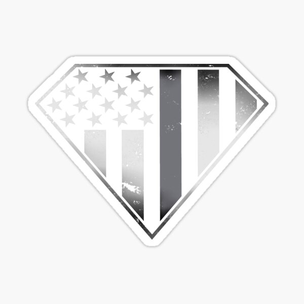 Correctional officer - Corrections Guards - Silver Thin Line - Gray Thin Line - Super Patriot Shield - Patriotic - American Flag Shield - USA Flag Shield Sticker