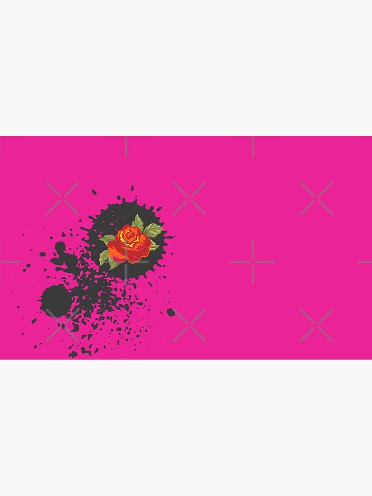 Sprouse inspired-Rose & Splattered Spray Paint- hot pink by Matlgirl