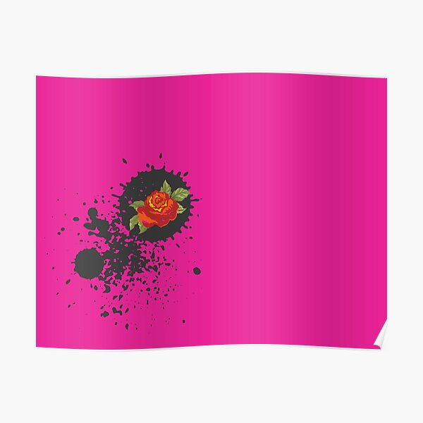 Sprouse inspired-Rose & Splattered Spray Paint- hot pink Poster