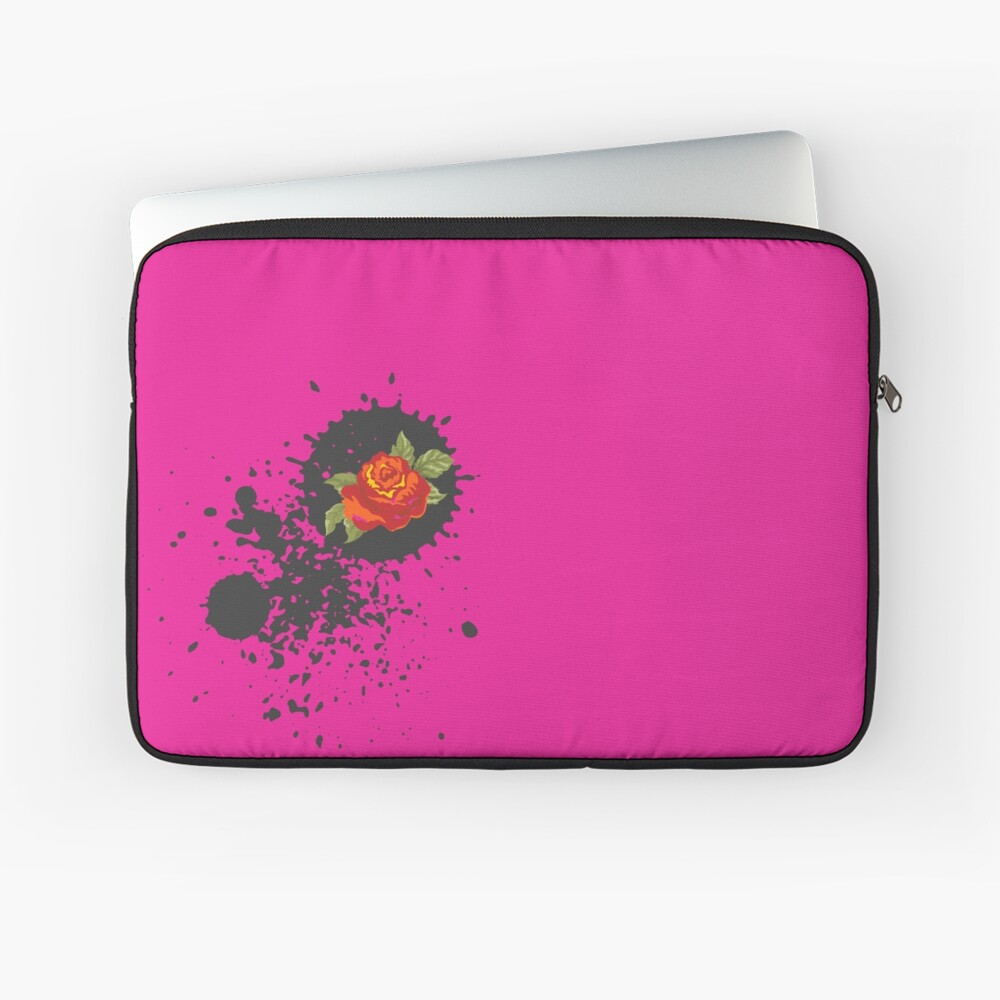 Sprouse inspired-Rose & Splattered Spray Paint- hot pink Laptop Sleeve