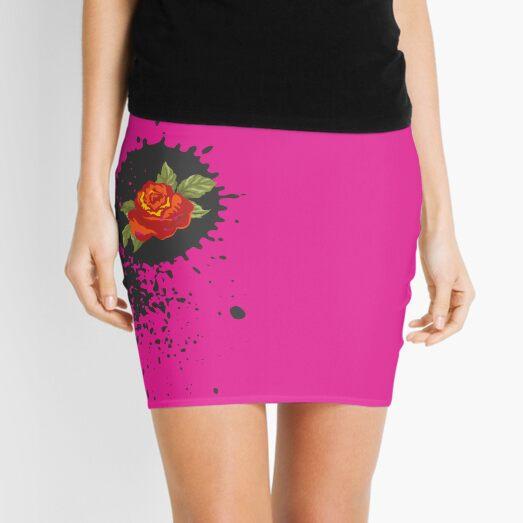 Sprouse inspired-Rose & Splattered Spray Paint- hot pink Mini Skirt