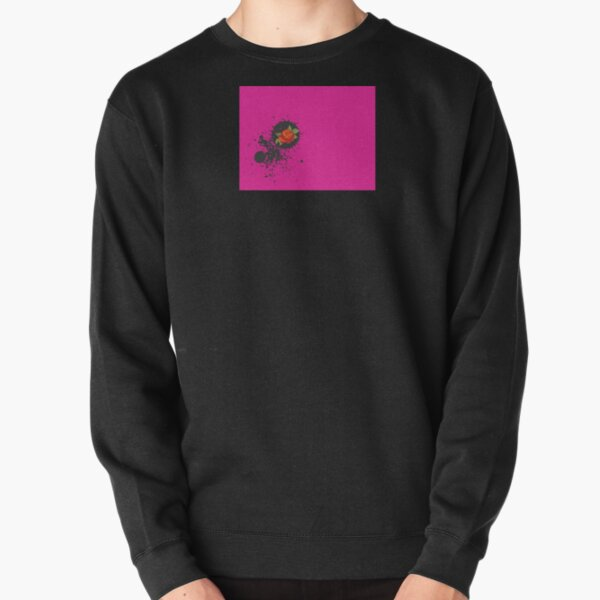 Sprouse inspired-Rose & Splattered Spray Paint- hot pink Pullover Sweatshirt