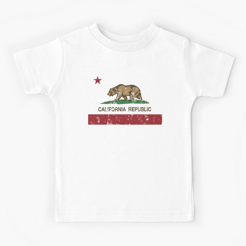 1734C Distressed CA Rebublic Kid/'s T-shirt California Bear Star Tee for Youth