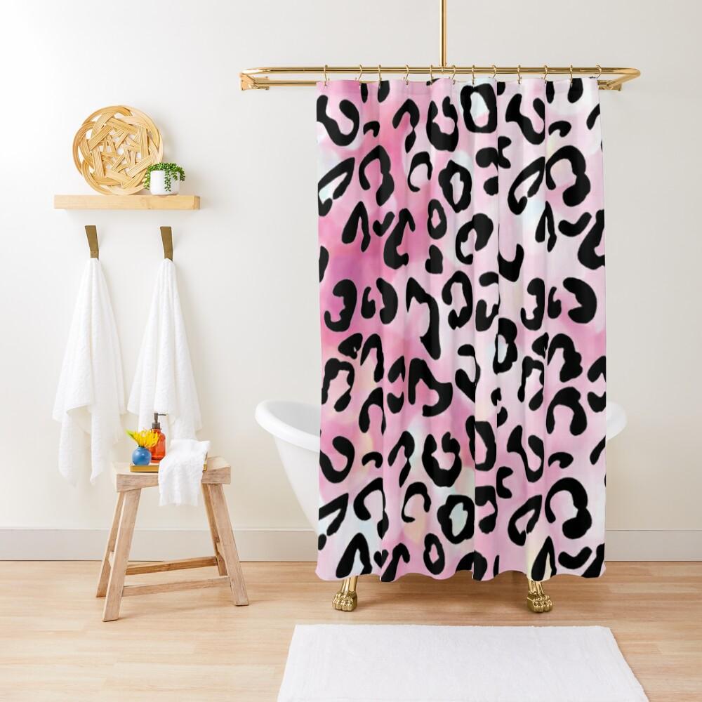 Black leopard pattern Shower Curtain