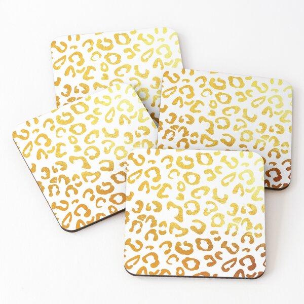 Golden leopard print Coasters (Set of 4)