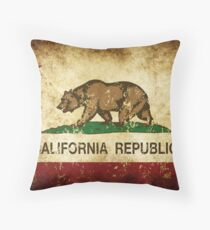 California Republic Flag Rustic  Throw Pillow