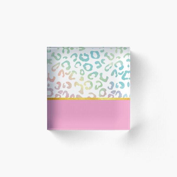 Pink rainbow leopard print, golden lining Acrylic Block