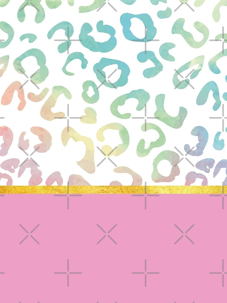 Pink rainbow leopard print, golden lining by ColorsHappiness