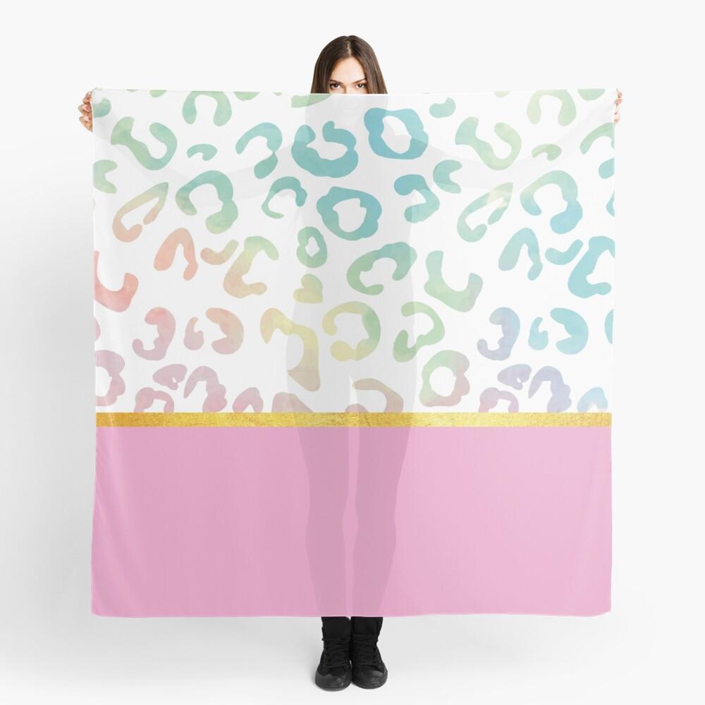 Pink rainbow leopard print, golden lining Scarf
