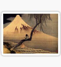 'Boy In Front Of Fujiama' by Katsushika Hokusai (Reproduction) Sticker