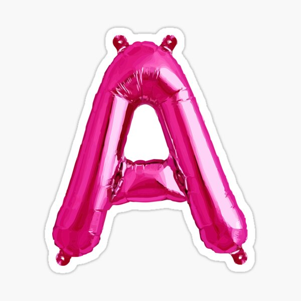 LETTER A PINK BALLOON Sticker