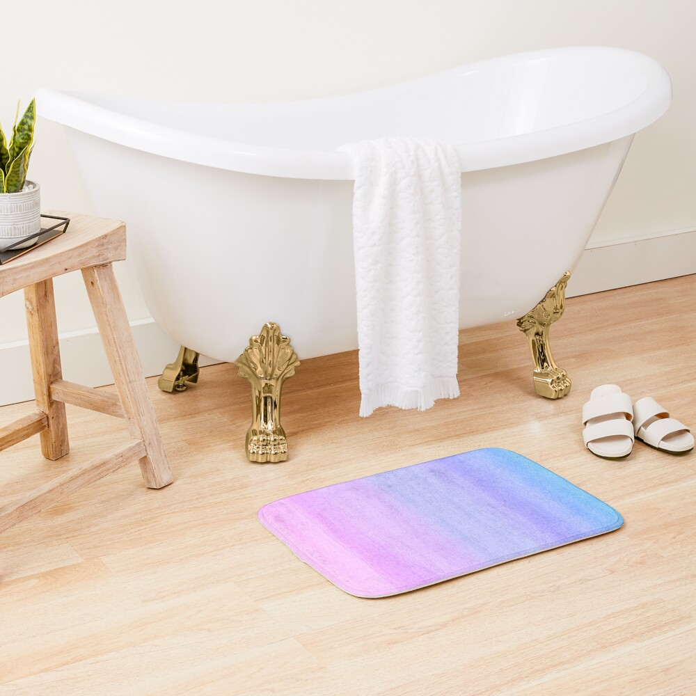 Colorful Ombre Abstract Watercolor Pattern Bath Mat