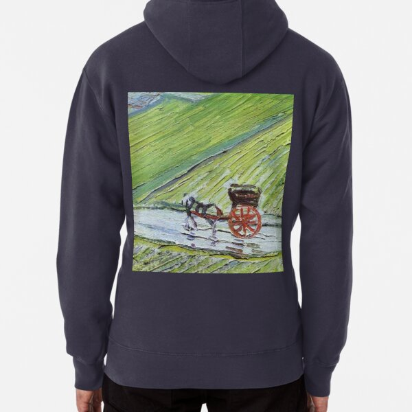 Vincent van Gogh A Road in Auvers after the Rain detail painting Pullover Hoodie