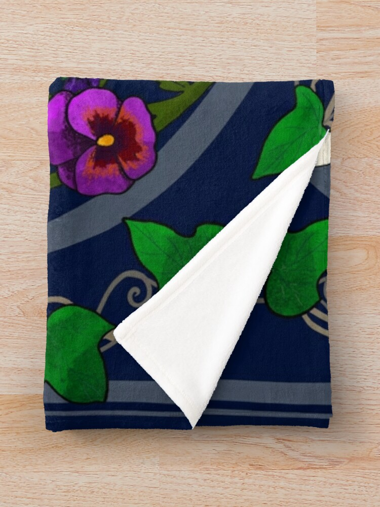 Alternate view of Daisy, Violet, Ivy-- Navy Throw Blanket
