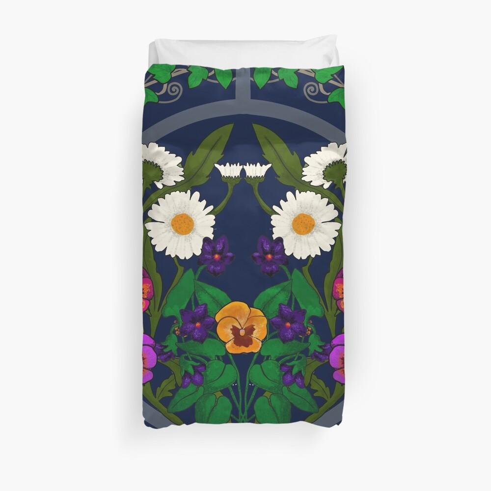 Daisy, Violet, Ivy-- Navy Duvet Cover
